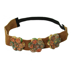 Suede Headband with Kantha Flowers