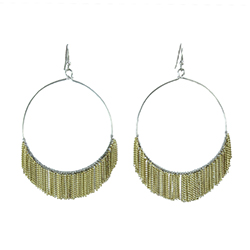 Delicate Fringed Chain Hoops - Gold