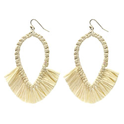 Raffia Fringe Drop Earrings - Natural