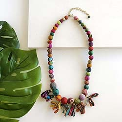 Kantha Fringed Bauble Necklace
