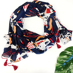 Topography Scarf/Sarong - Navy