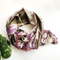 Watercolor Scarf w. Crochet Trim - Plum